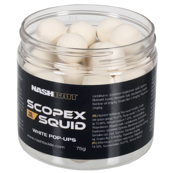 POP-UP NASH SCOPEX SQUID WHITE 12MM , 75GR - B6840