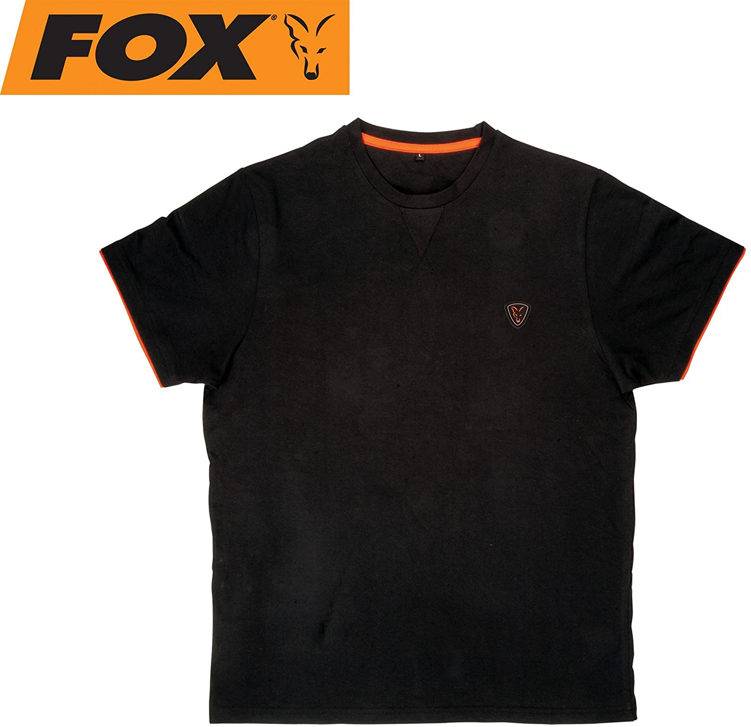 BLUZA FOX CU MANECA SCURTA Black / Orange Brushed Cotton T  - XL - CPR732